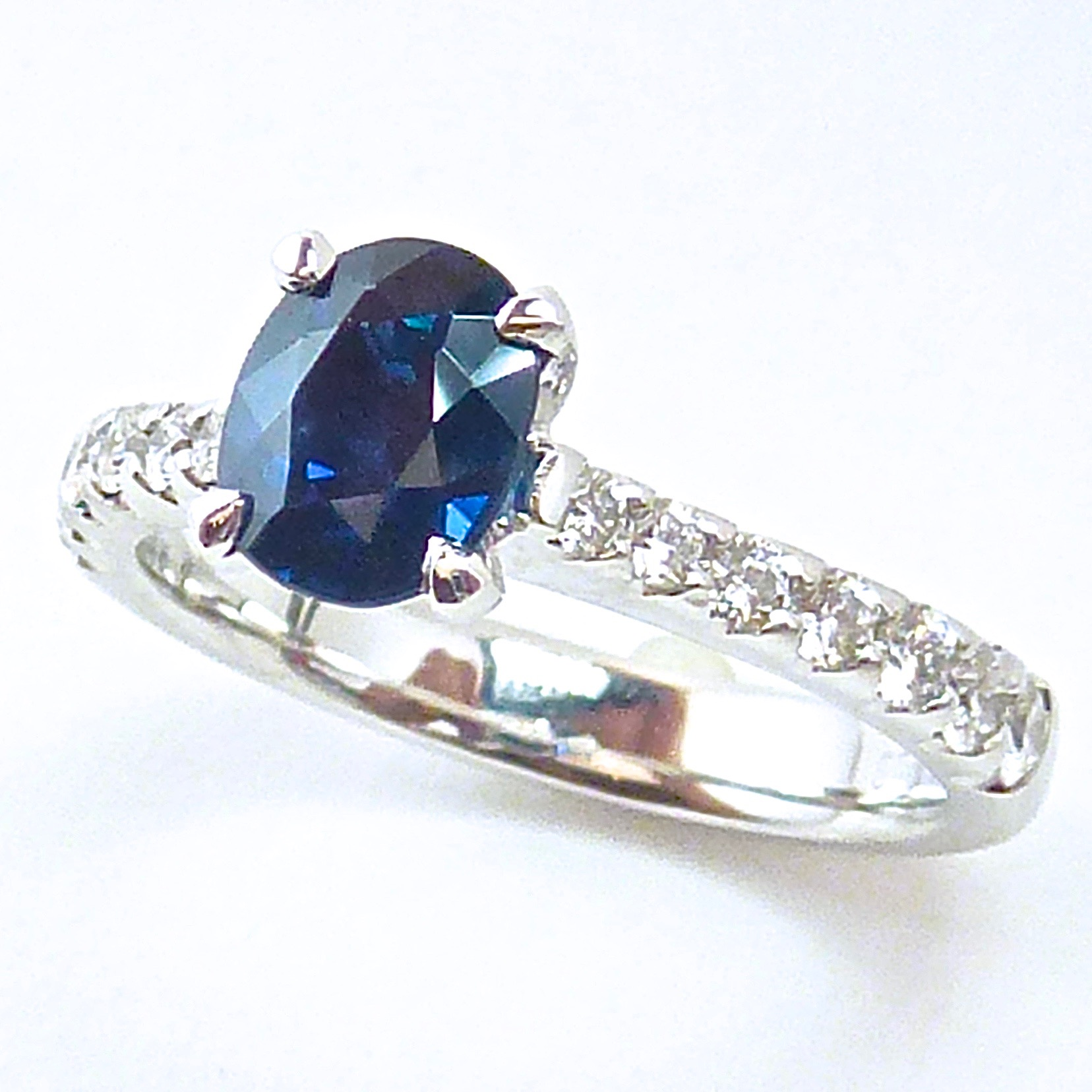 Australian sapphire and diamond engagement ring