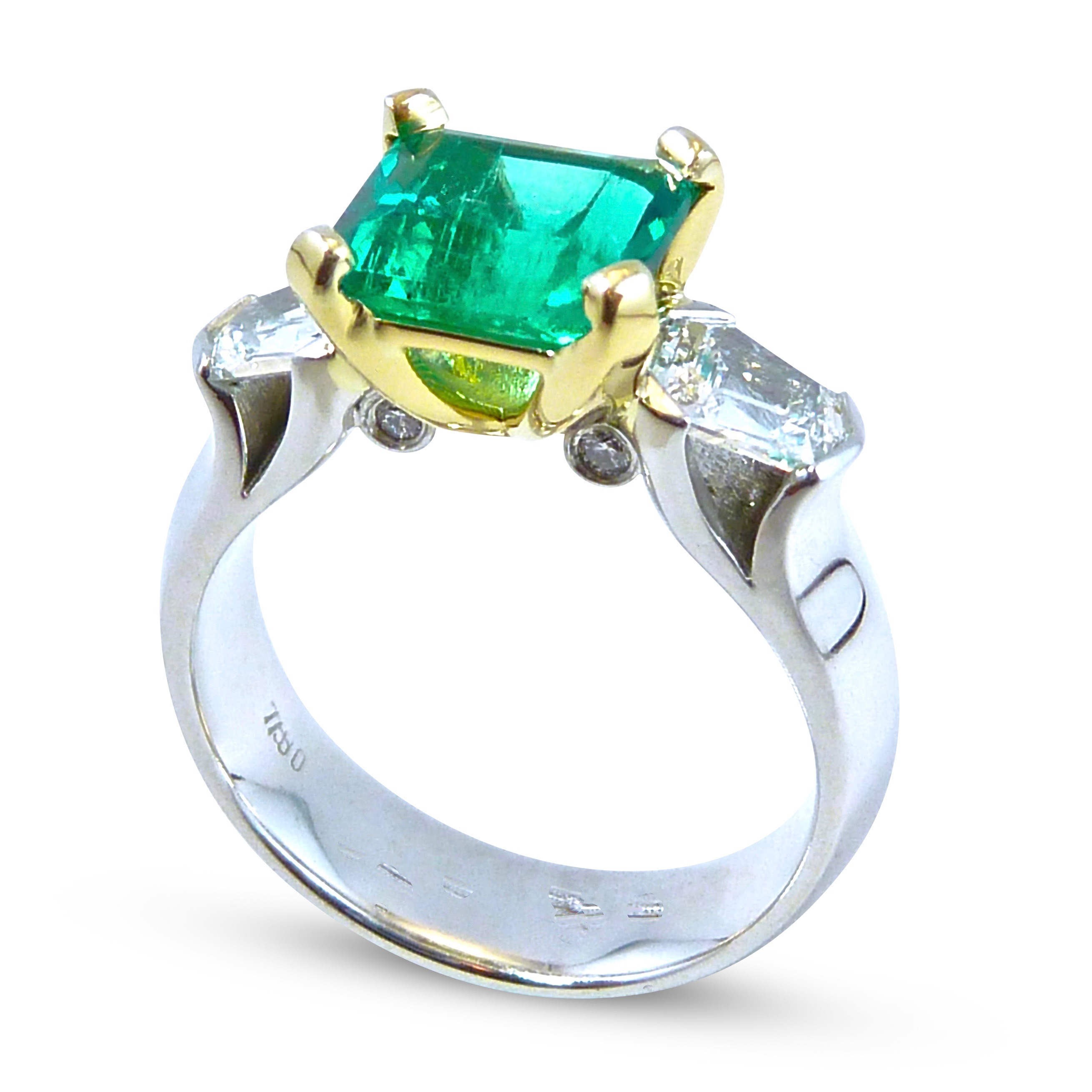 Colombian emerald and diamond trilogy ring