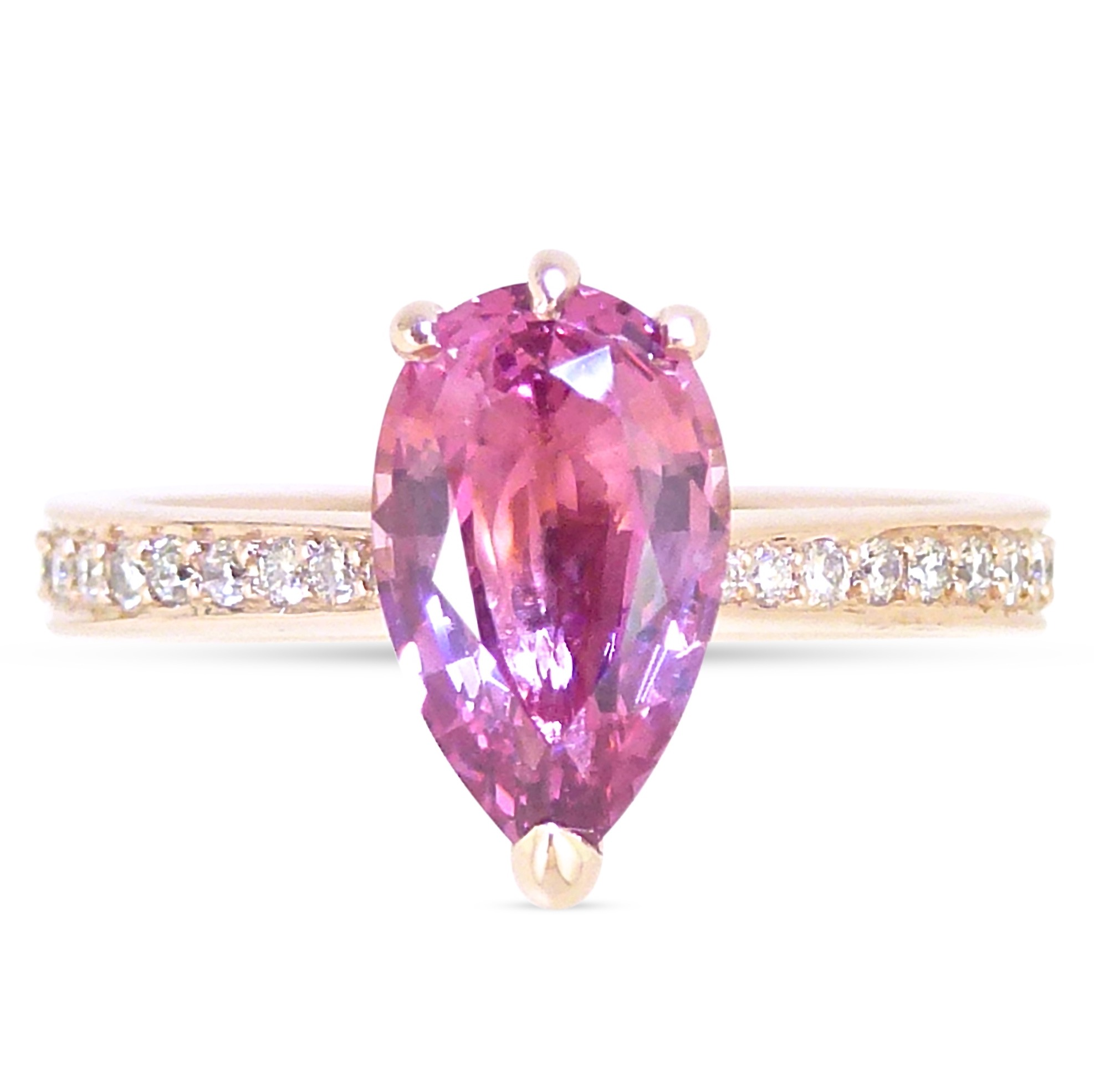 Pink spinel pear shape and diamond engagement ring in rose gold