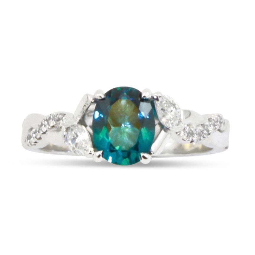 Teal tourmaline and diamond lotus engagement ring