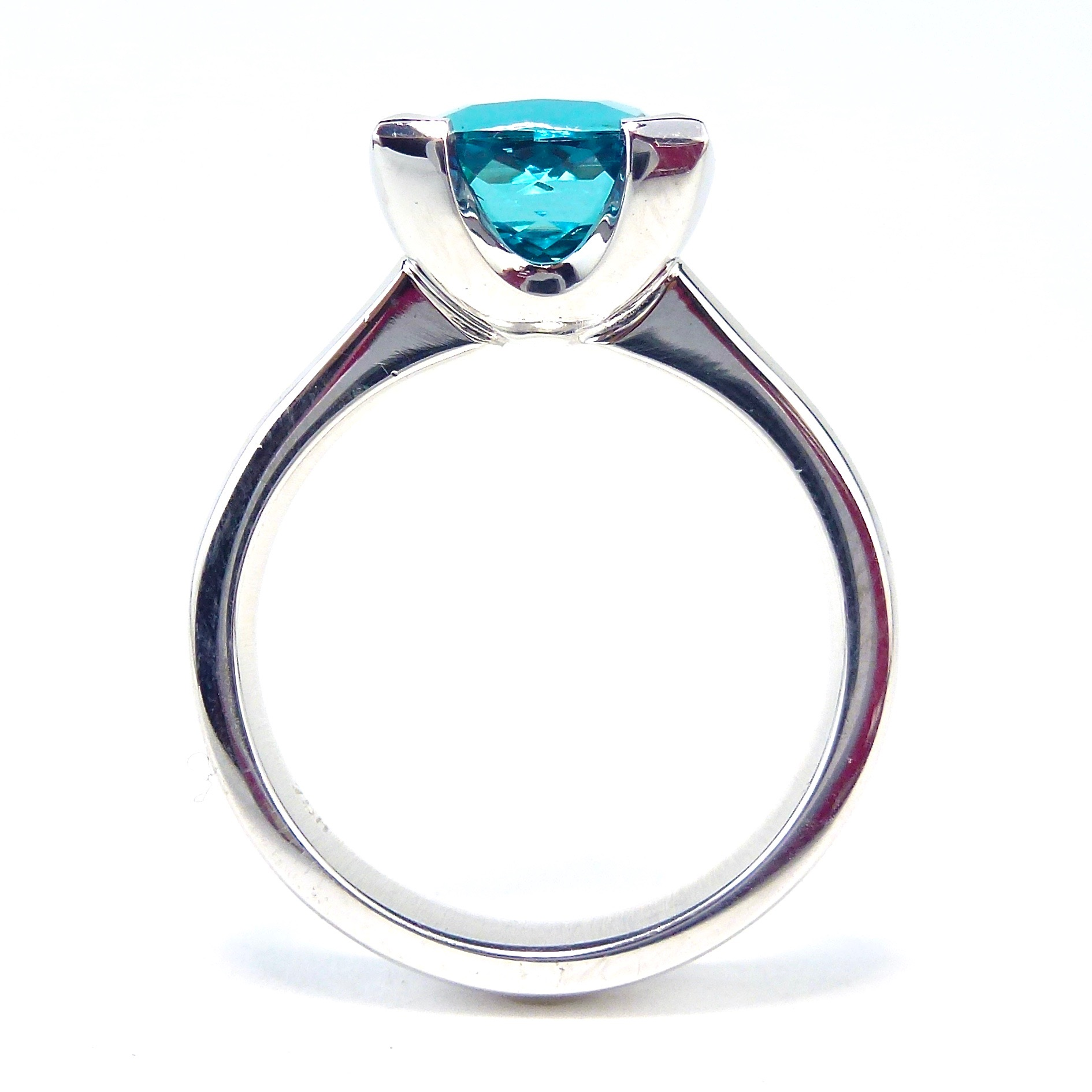 Teal tourmaline dress ring in white gold