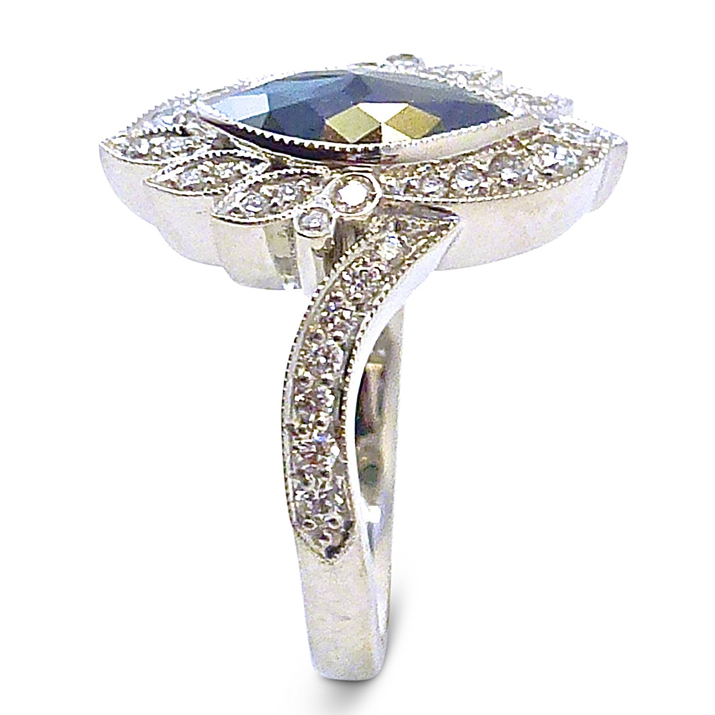 Black diamond Edwardian 10th anniversary ring