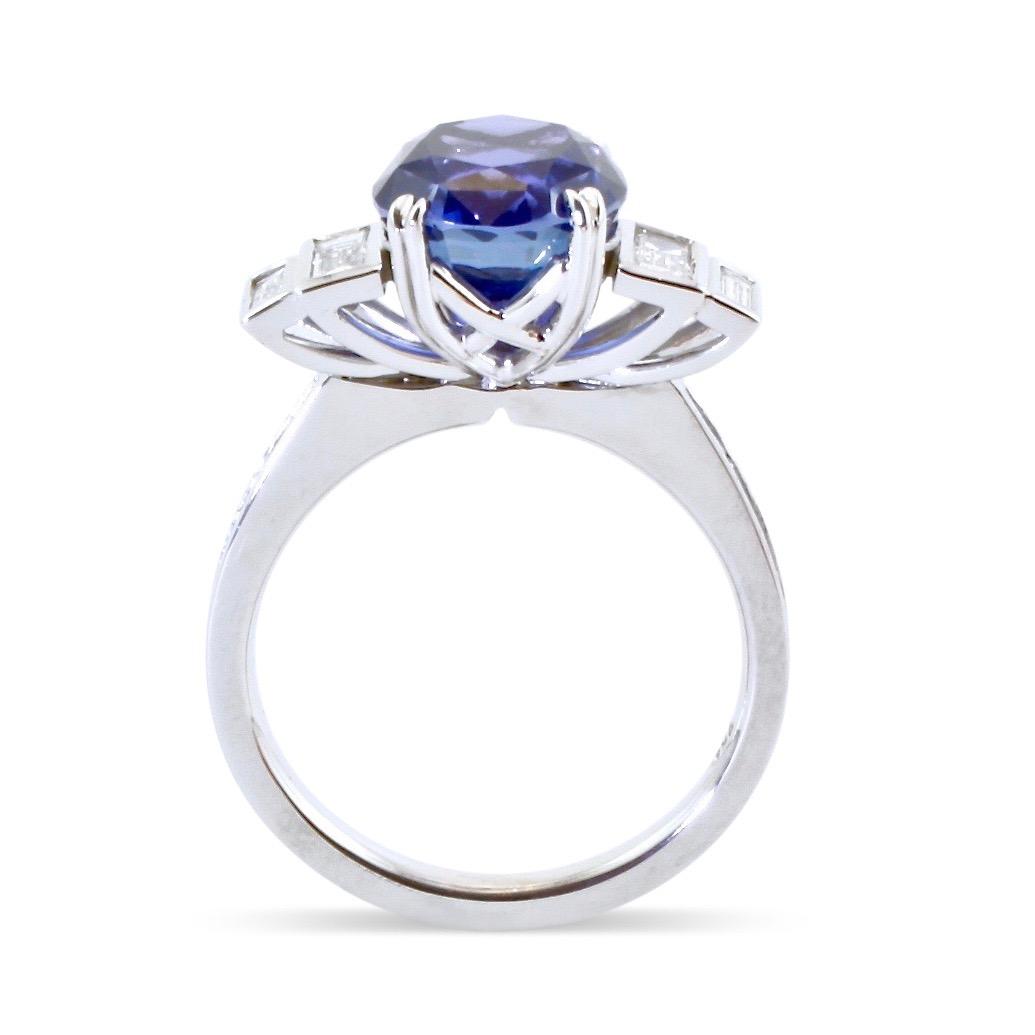 Ceylon sapphire and diamond Art Deco engagement ring