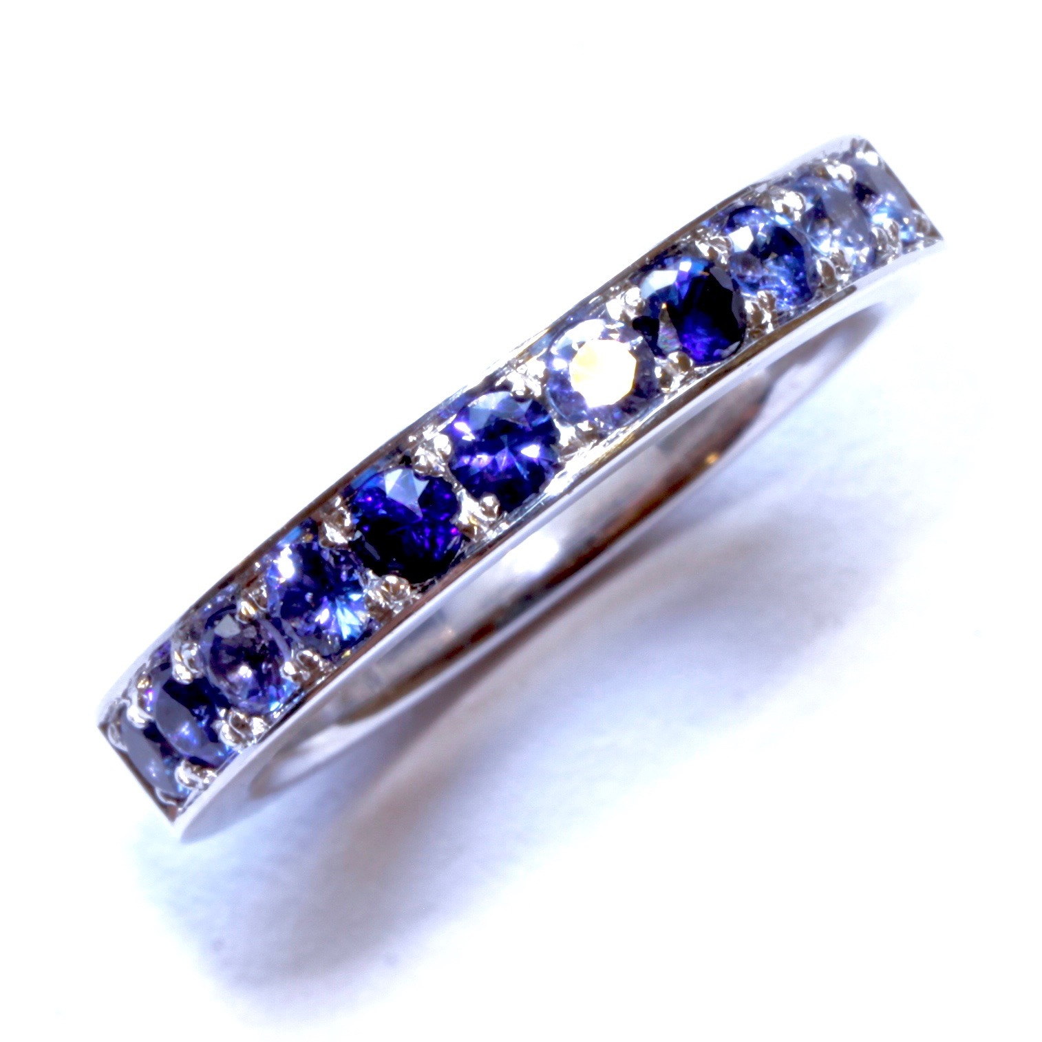 Ceylon sapphire ombre pave set dress ring