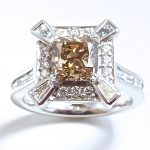 Champagne diamond art deco 10th anniversary ring