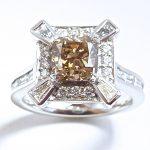 Champagne diamond art deco 10th anniversary ring