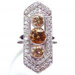 Champagne diamond ombre Art Deco 10th anniversary ring
