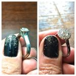 Diamond halo anniversary ring remodel in white gold