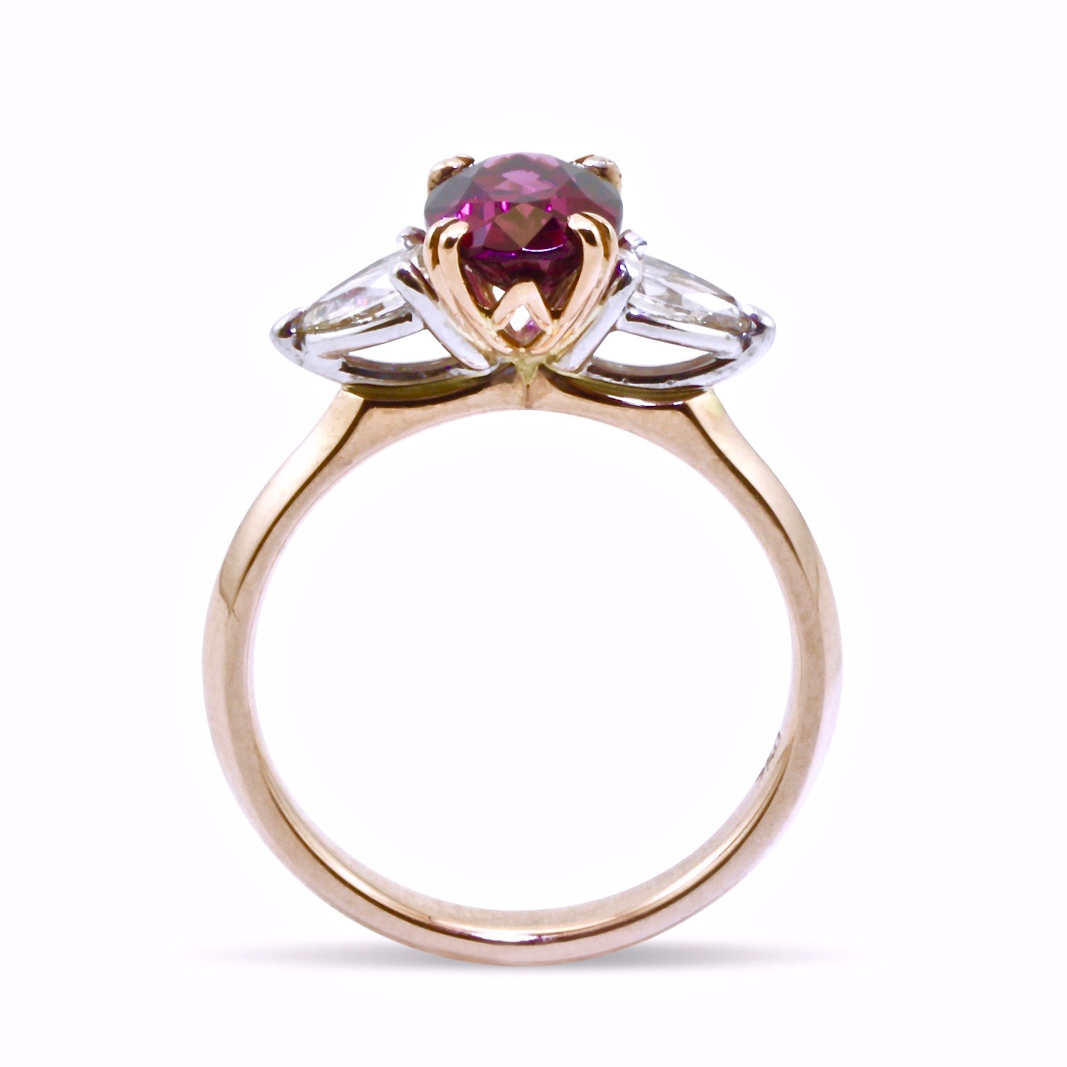 Garnet and diamond anniversary ring in rose and white gold