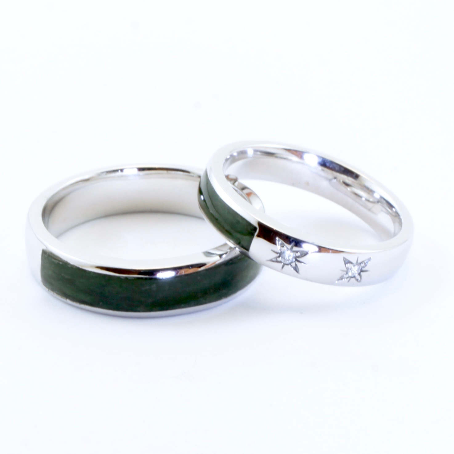 Greenstone Pounamu wedding rings