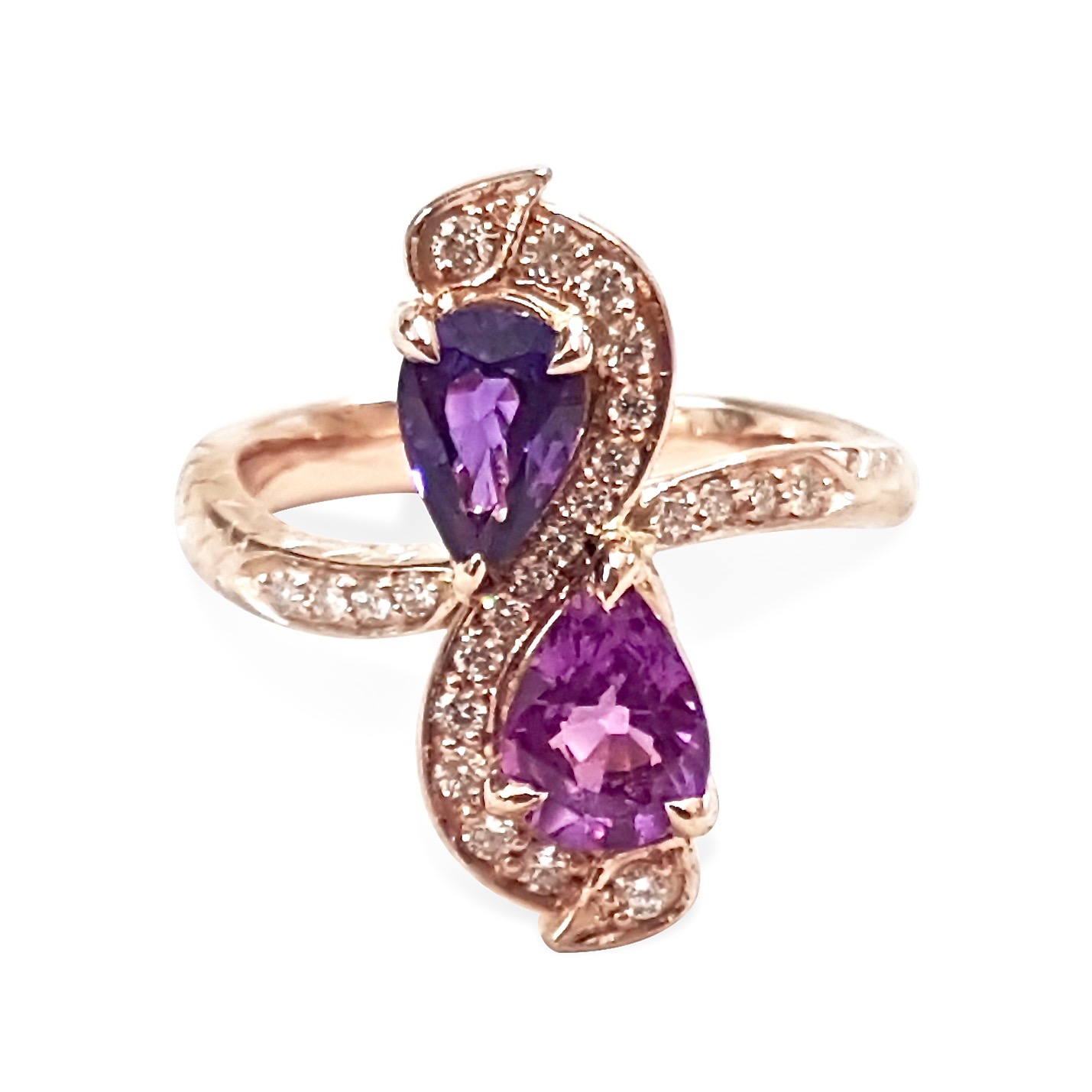 Infinity dragon purple sapphire and diamond hand engraved engagement ring