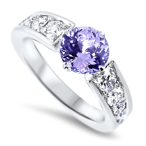 Lavender spinel and diamond dress ring in white gold