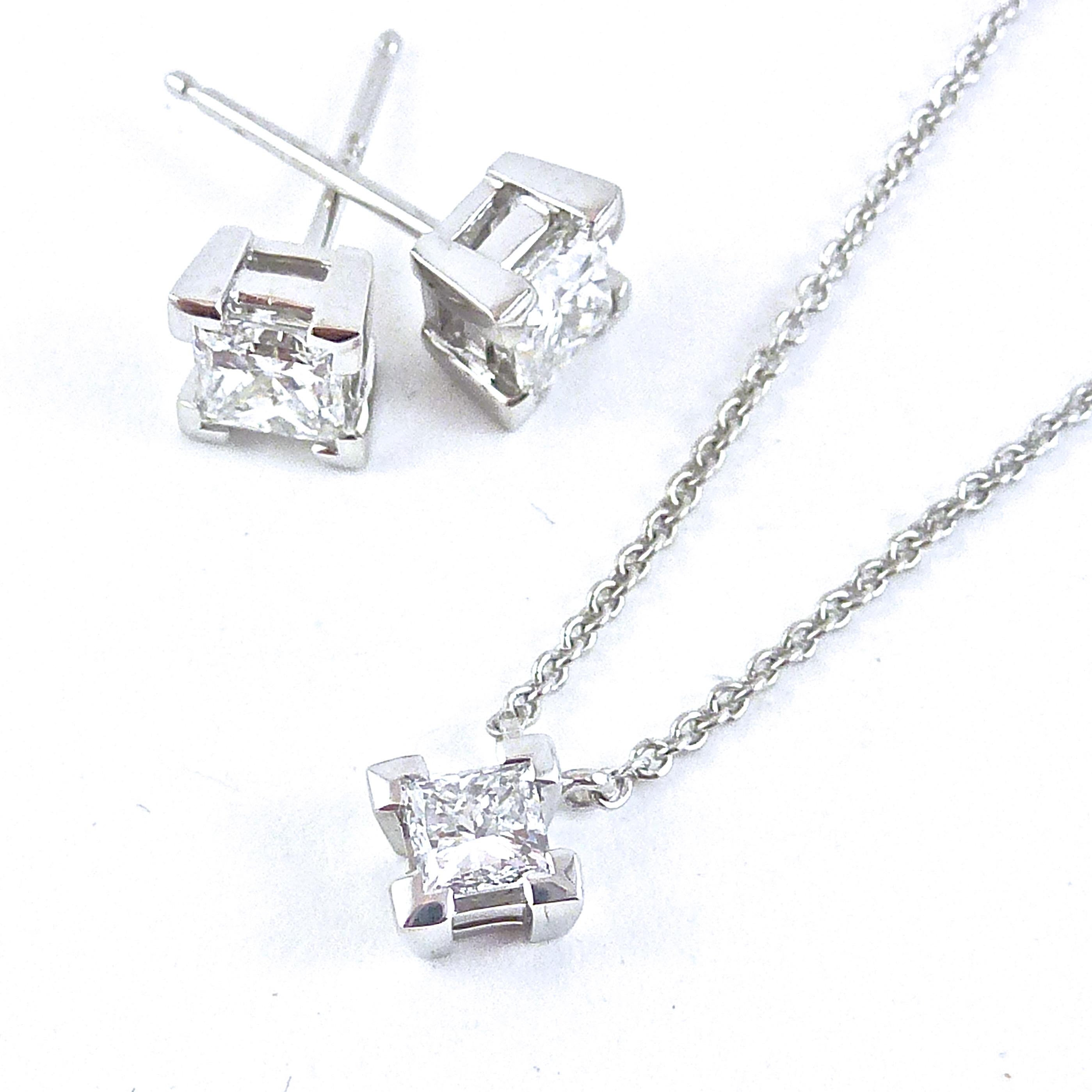 Princess cut diamond corner claw stud earrings and pendant