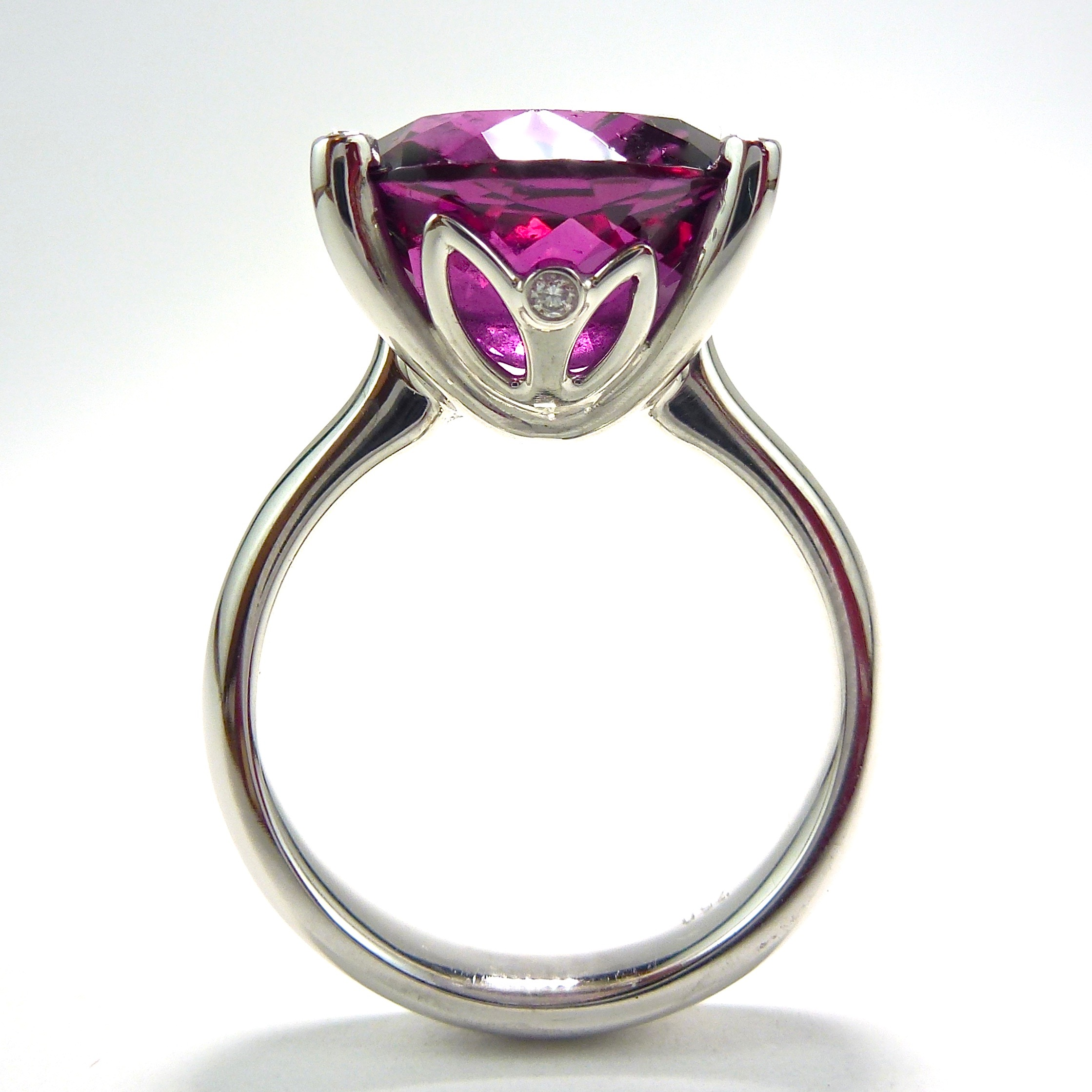 Rhodolite garnet and diamond dress ring in white gold