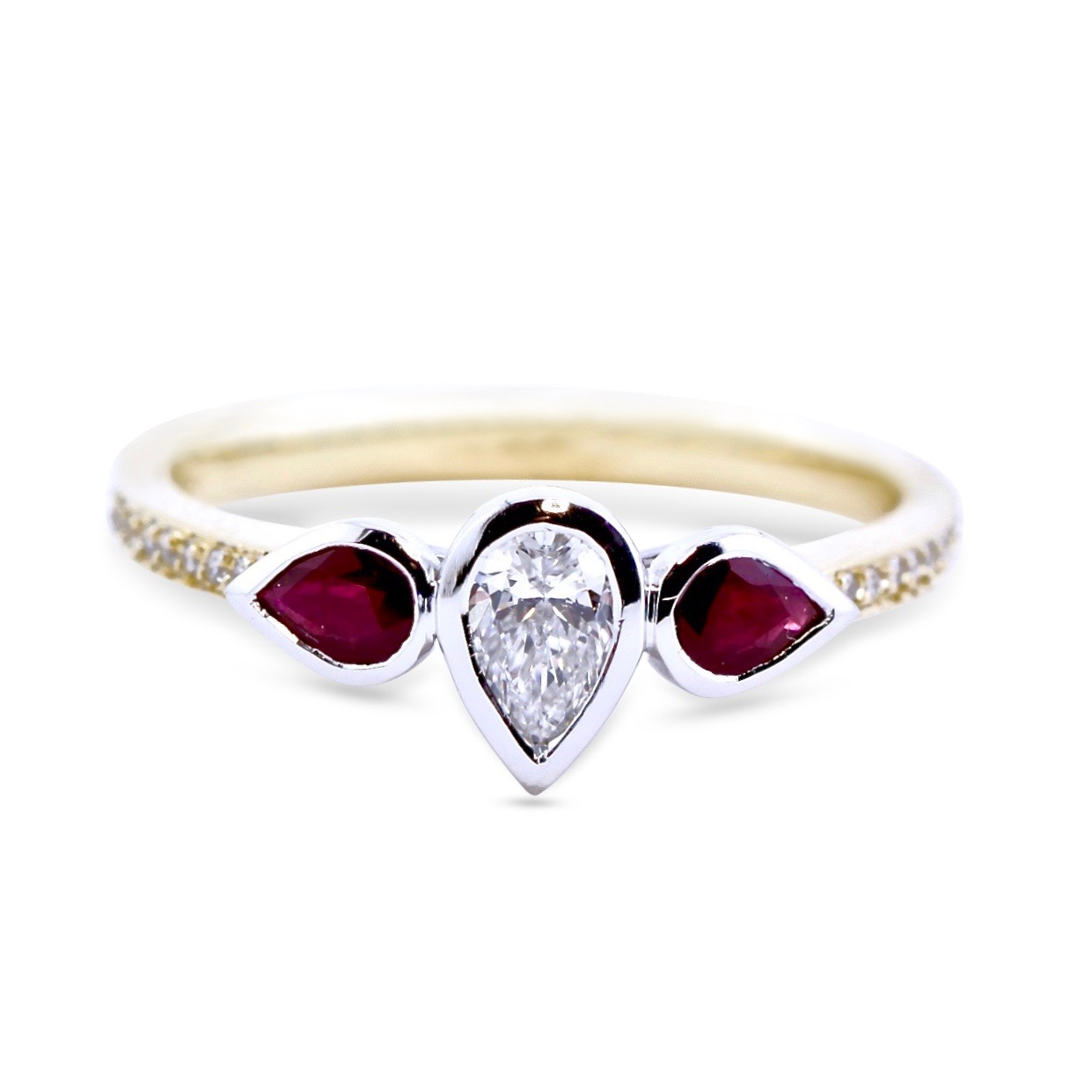 Ruby and diamond 40th anniversary rings