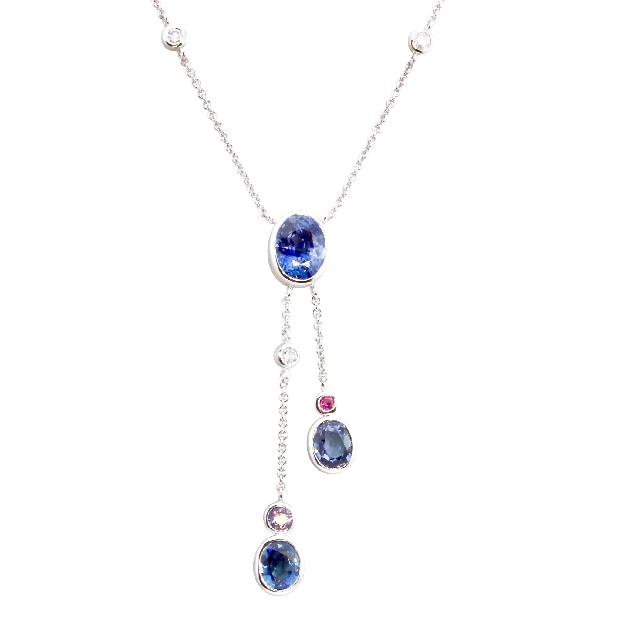 Sapphire and diamond lavalier necklace in white gold