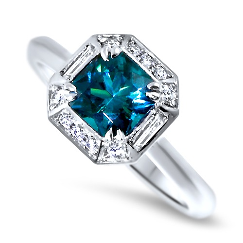 Teal Tourmaline and Diamond Art Deco engagement ring