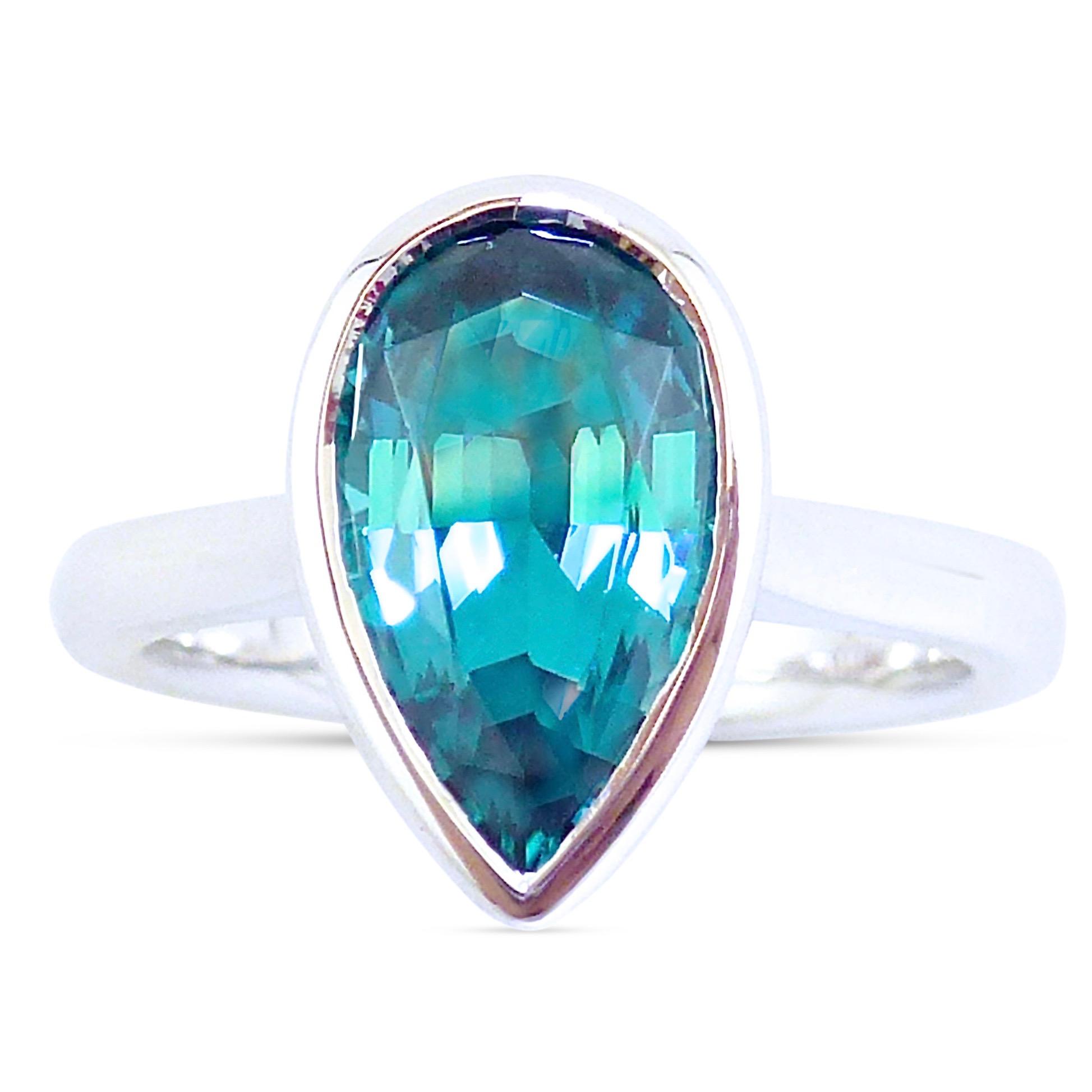 Teal tourmaline bezel set engagement ring